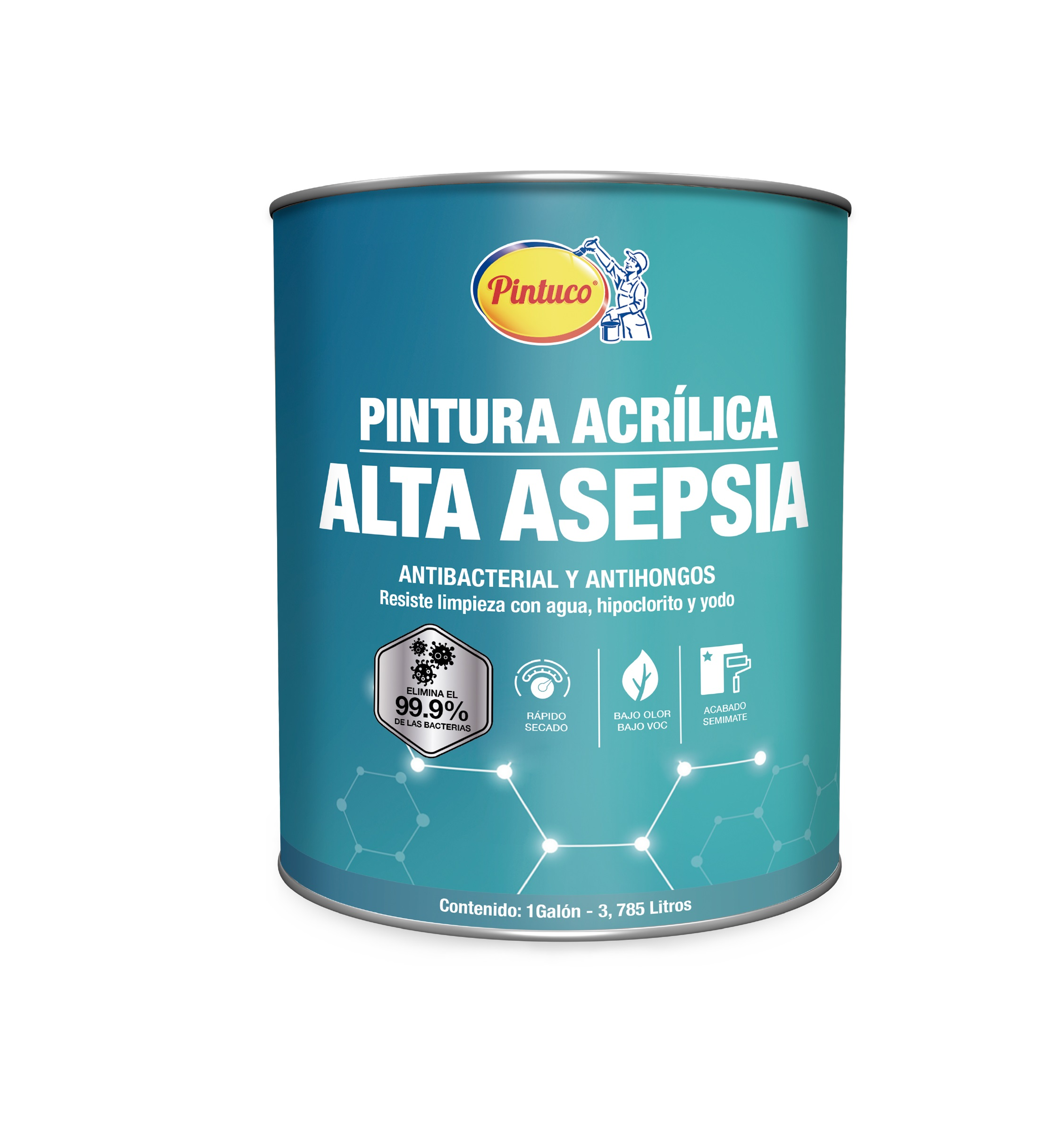Pintura antibacterial Alta Asepsia blanco 1gl PINTUCO