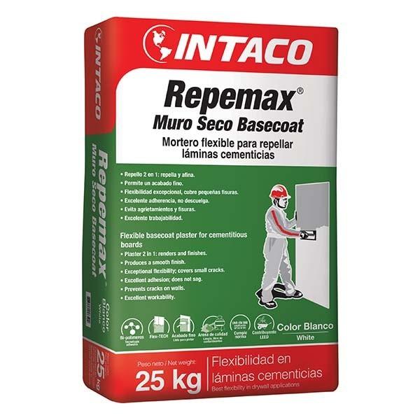 Mortero flexible Repemax Muro Seco de 25kg para repellar láminas cementicias INT