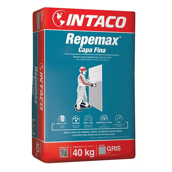 Mortero Repemax capa fina de 40kg para repellos de 3 mm a 5 mm  de color gris IN