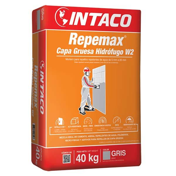 Mortero Repemax capa gruesa hidrófugo W2 de 40kg color gris INTACO