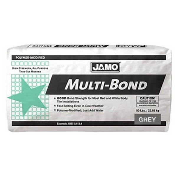 Pegamento Multibond de 22.68kg modificado con polímeros color gris JAMO