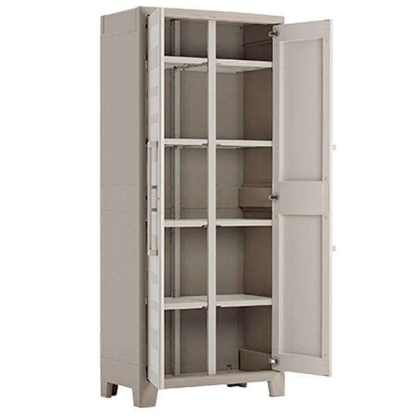 Armario de Plástico de 182cm de 8 estantes para almacenamiento de color beige KE