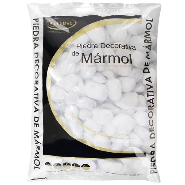"""Piedra decorativa de 1 1/2"""" de mármol color blanco PIDECMAR"""