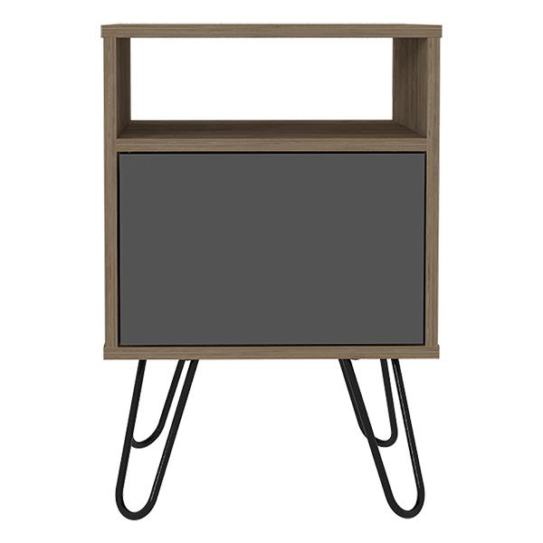 Mesa auxiliar modelo Vassel de 60cm x 40.3cm x 38cm de color miel + negro RTA