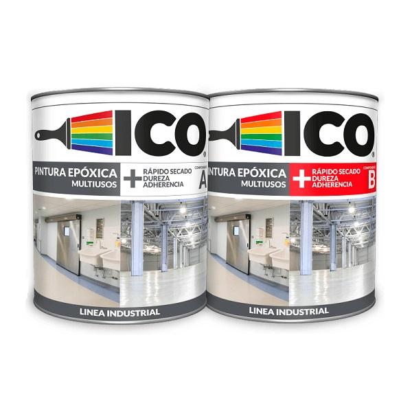 Pintura epóxica ICO multiuso de dos componentes color blanco 1gl PINTUCO
