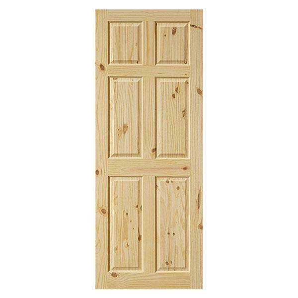 Puerta sólida de 3' x 7' de madera de pino modelo Colonial de 6 paneles para int