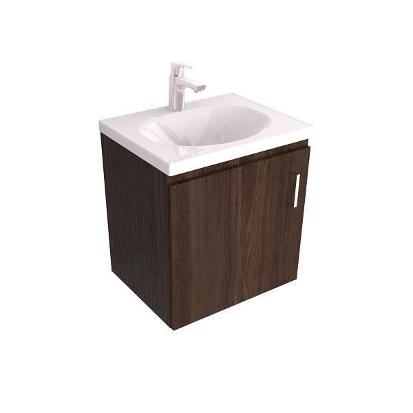 Mueble y lavamanos suspendido 48x38 eco tabaco incluye desague sin sumidero