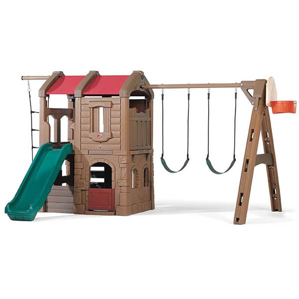 Juego de patio Adventure Lodge con escalera colgante, columpios y tobogán para n