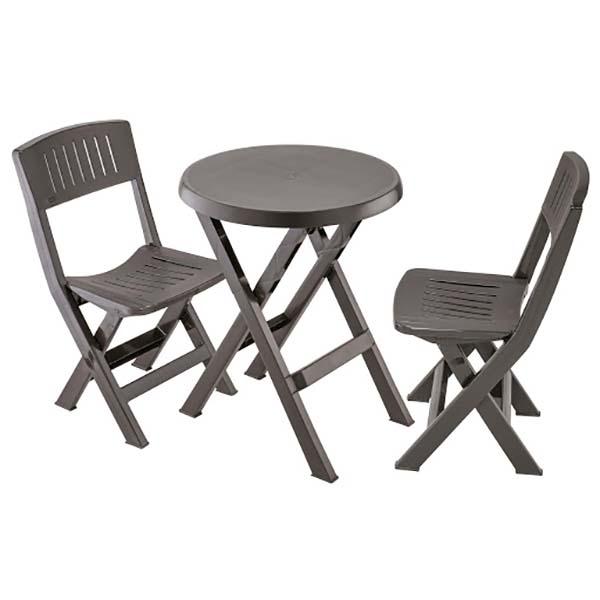 Combo de mesa y 2 sillas plásticas plegables color wengue