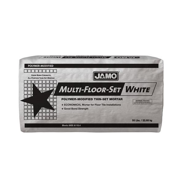 Pegamento Multifloor de 22.68kg modificado con polímeros color blanco JAMO