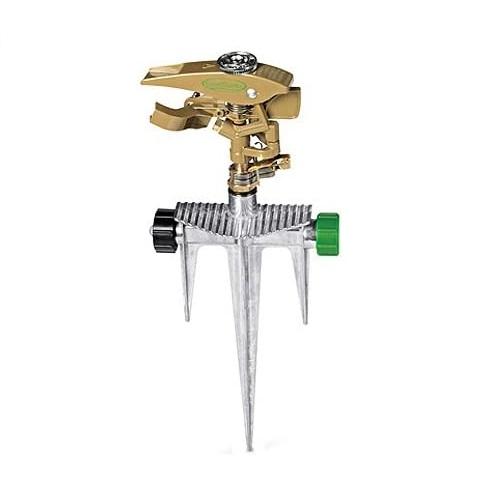 Aspersor pulsante de metal con estaca para jardín color dorado GREEN THUMB