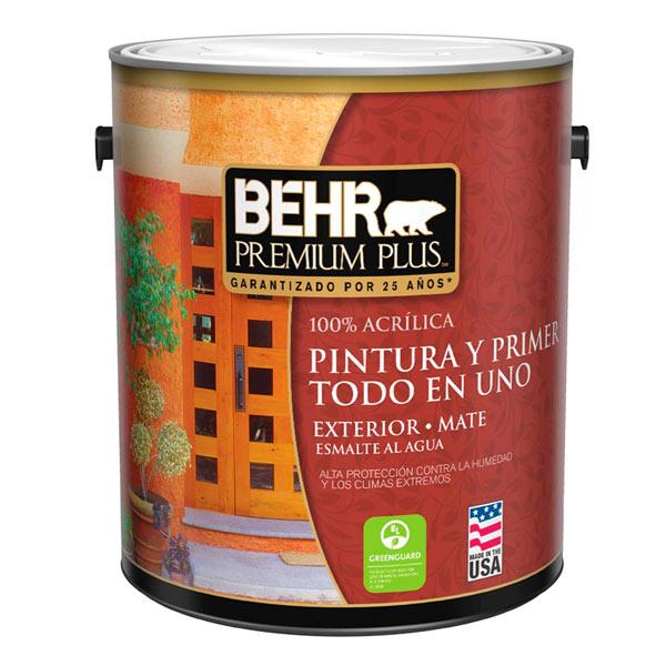 Pintura acrílica Premium Plus para exterior acabado mate color blanco de 4.2gl B