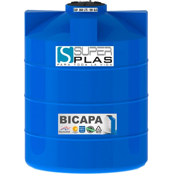 Tanque de reserva de agua con capacidad de 660 galones color negro