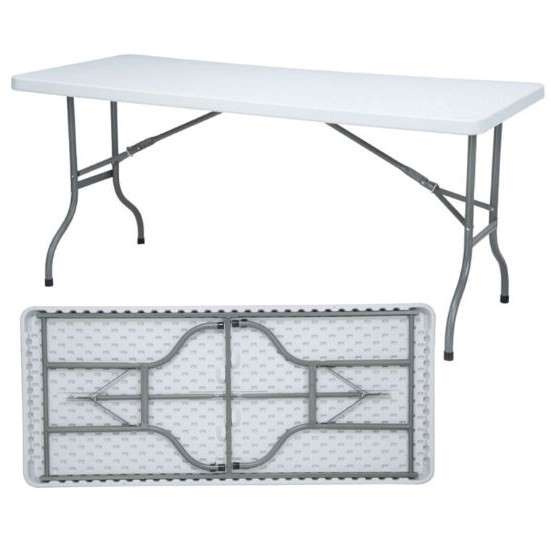 "Mesa plástica plegable rectangular de 60"" color blanco AMAKA"