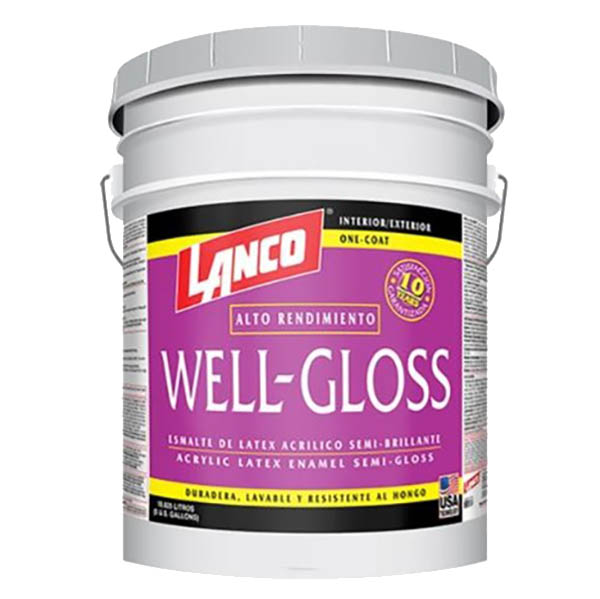 Pintura de látex acrílica well gloss de base pastel de 5gl LANCO