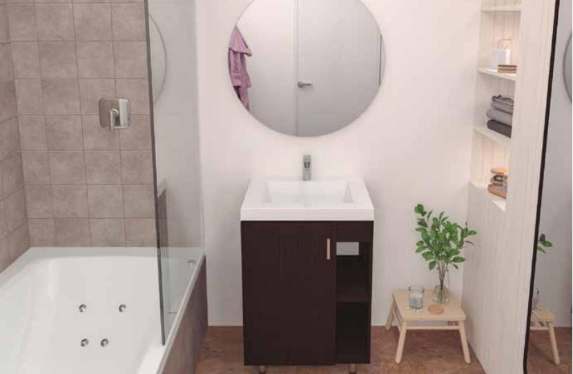 Mueble plus y lavamanos oslo piso 63x48 wengue incluye desague sin sumidero
