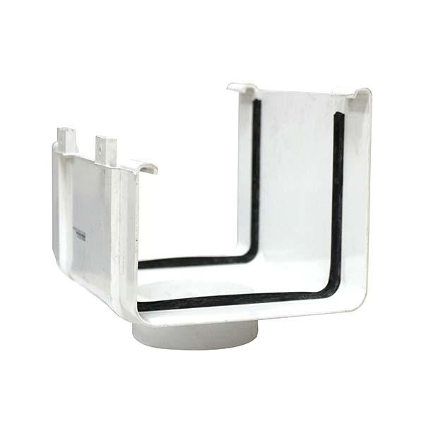 """Bajante Colonial lisa de 3"""" de PVC para en canales de techo de color blanco"""