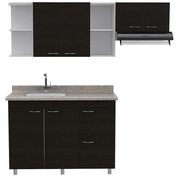 Mueble de cocina modular superior 60cm x 180cm x 31.5cm inferior 87.5cm x 120.4c