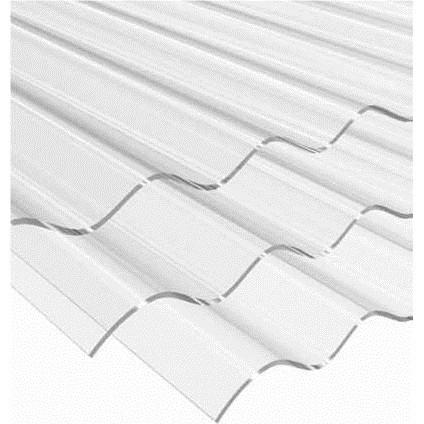 """Lámina de policarbonato de 42"""" X 10' ondulada para techo de color transparente B"""